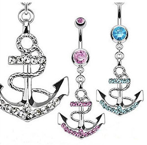 Wholesale New Anchor Style Cool Belly Button Navel Rings Mix Colors Navel Belly Ring Body Piercing Jewelry