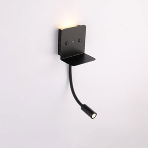 Wholesale Black gooseneck LED wall lamp with USB charging socket K K Nickel bedroom bedside reading lamp with switch charging port