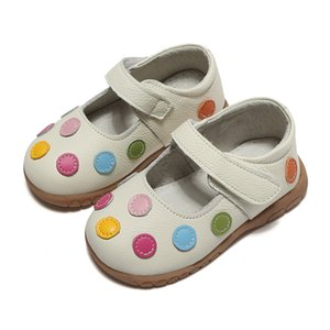 Wholesale 100 Leather Shoes Soft Baby Kids White Mary Jane With Multicolored Polka Dots Classic For Little Girls Children Cute Y19051303