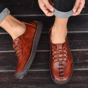 Wholesale hot fashion mens loafers for sale - Group buy 2020 Fashion Men Shoes Genuine Leather Lace Up Mens Shoes Leather Casual Loafers Hot Sale Shoes Men Large Size