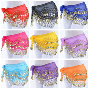 Belly Dance Hip Scarf Waist Chain belt chiffon dangling hip belly dance skirts coins gold silver