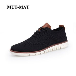 Wholesale New Men s British Style Shoes Brock Knitted Mesh Casual Oxford Sneakers Lace up Ultra Light Hollow Footwear Large Size
