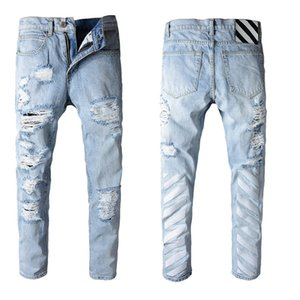 "Classic 16""SS Style Fashion Men's OFF Jeans High Quality Blue Skinny Fit Spliced Ripped Jeans High Street Destroyed Biker Denim Jeans 29-40"
