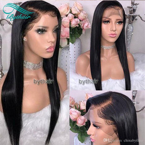 Silky Straight Brazilian Virgin Human Hair Full Lace Wig Pre Plucked Hairline Lace Frontal Human Hair Lace Wigs With Baby Hairs Bythair
