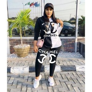 Wholesale Women Designer Clothing Set Fashion Womens Print Tracksuits Womens Luxury Casual Clothing Hoodie Pant Ladies Sports Wear