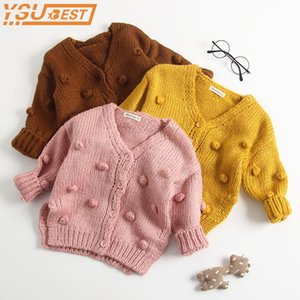 Wholesale 1-3yrs Baby Girl Sweater Outerwear Coat Child Winter Ball In Hand Down Sweater Cardigan Jacket Cardigan For Girl Girls Cardigan J190509