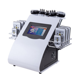 New Promotion 6 In 1 Ultrasonic Cavitation Vacuum Radio Frequency Lipo Laser Slimming Machine for Spa DHL FEDEX Shipping