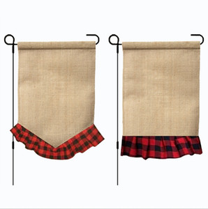 Wholesale Plaid Garden Flag Monogram Ruffle Yard Flags Burlap Wedding Hanging Flag Party Garden Decorations Designs DHW1816