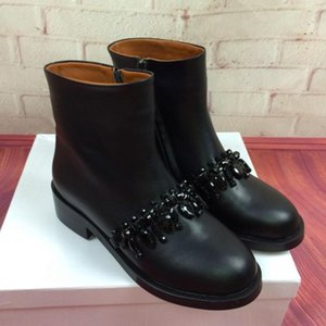 Wholesale Hot Sale Best selling women boots fashion Metal chain low heels high quality leather ankle boots zipper bling Short Booties shoes