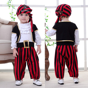 Wholesale Halloween Baby Clothes Kids Clothing 2019 Newest Newborn Toddler Halloween Party Pirate Costumes Long Sleeve Tops+Stripe Pants+Hats 3pcs Set