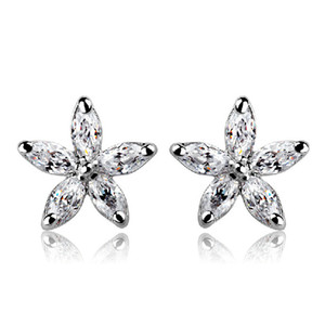 Wholesale summer flower zircon stud earrings multicolored A zircon inlay natural exquisite fashion earrings for women gift