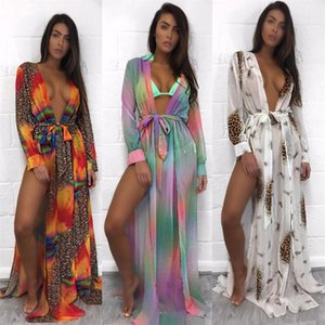 Women Colorful Chiffon Shawl Cardigan Tops Cover Up Blouse Summer Beach Dress Trim Bikini Swimsuit Women Beach Maxi Dress