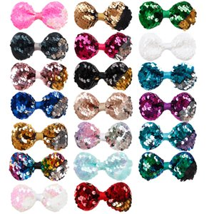 Wholesale 20 Colors Cute inch Girls Embroidered Sequin Hair Bows With Alligator Clips For Kids Colorful Hairpins Bling Hair Accessories