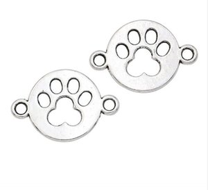 Wholesale 100Pcs Antique Silver Paw Print Dog Footprint Connectors Pendant Charms For necklace Jewelry Making findings x17mm