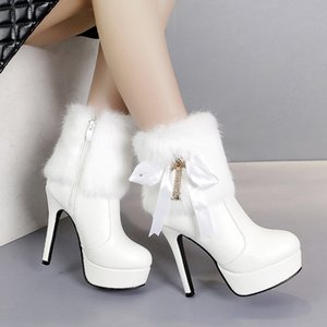 Autumn Boots Zipper Shoes Winter Women Round Toe Bootee Woman 2019 Clogs Platform Booties Ladies High Heel Ankle Rubber Riband