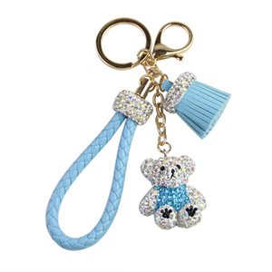Wholesale Fashion Cute Mini Rhinestone Bear Doll Keychains Female Car Key Ring Pendant Cartoon Animals Teddy Bear Keychains Trinkets