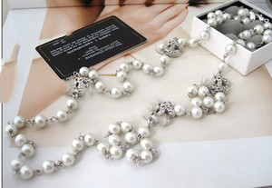new with box luxury women's female's ladies stamped hollow out pearls long necklaces sweater chains free shipping 2colors