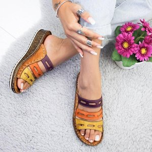 Wholesale Explosion models sandals female new large size wedge with thick bottom color matching casual Roman ladies slippers