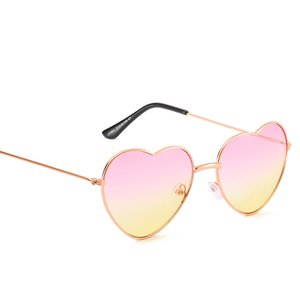 Wholesale NEW Fashion Heart Shaped Sunglasses Women Brand Designer Lady Metal Reflective Ties Sunglasses Men s UV400