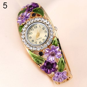 Women's Big Flower Leaf Band Crystal Rhinestone Bracelet Dress Wrist Watch