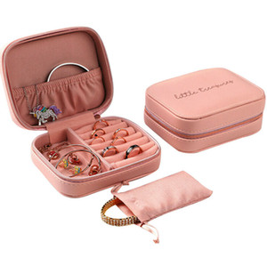 Wholesale travel jewelry box leather resale online - Protable Travel Leather Jewelry Multi function Storage Box Case Holder Earring Necklace Simple Girl Plate Leather Organizer Box