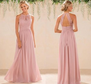 Blush Cheap A Line Lace Chiffon Bridesmaid Dresses A Line High Neck Backless Long Summer Beach Garden Wedding Guest Evening Party Gowns on Sale