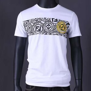 Summer new men's round neck T-shirt comfortable fashion with cotton fabric gold Medusa badge pattern