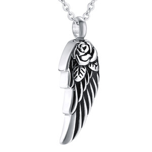 Wholesale stainless steel angels jewelry for sale - Group buy Angel Wing with Rose Cremation Urn Pendant Necklace Stainless steel Ash Pendant Memorial Keepsake Cremation Jewelry