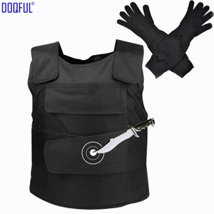 Wholesale Tactical Stabproof Vest Anti Cut Work Long Gloves Steel Wire Outdoor Safety Clothes Stab Proof Vests Self Defense Tungsten Steel Iiner Plate
