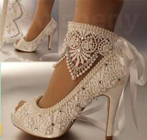 Wholesale Women fashion high heel satin white ivory lace anklet open toe Wedding Bridal shoes dancing party shoes