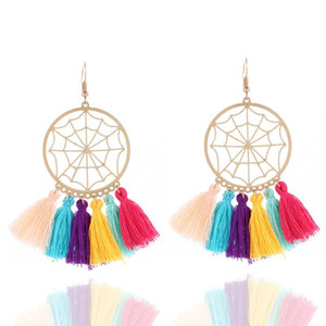 Wholesale Spider Web Design Lace Drop Earrings Bohemian Long Tassel Dangle For Women Party Accessories