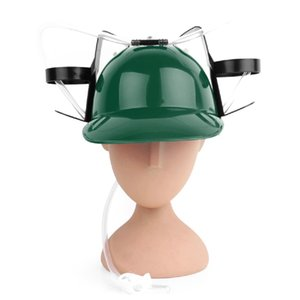 Wholesale Drinker Hat Beer Soda Drinking Hard Hat Helmet Toy Party Prop Guzzler Helmet Drinking Miner Hat With Beer Can Straw Soda Cola Cap Y10837GR