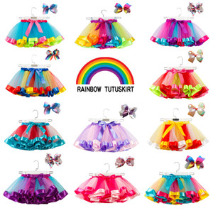 Wholesale 11styles Kids Girl Rainbow Tutu dress with Headband Princess Candy Color Skirt Sets Baby Girl Christmas Dance Tutu Dresses set FFA2796