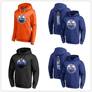 Wholesale 97# Connor Mcdavid Hockey Hoodies Men's Edmonton Oilers Brand hoody Sport long Sleeve Outdoor wear Black Blue Jacket printed Logos