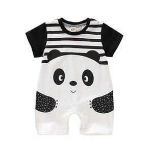 Newborn Baby Cartoon Bodysuit Kids Designer Boy Girls Striped Panda Jumpsuit Infant Baby Romper Summer Thin Kids Clothing 06