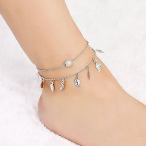 Wholesale anklet feet lovers for sale - Group buy Trendy Double Layer Fringe Small Leaf Anklet Alloy Metal Pearl Multilayer Foot Chain Leaves Tassel Charming Pendant Anklets Women Lover Gift