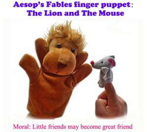 Plush Puppets: The Lion and The Mouse Finger Puppets Kids Talk Prop Preschool Kindergarten Velour Animal Finger Puppets Kids Toy