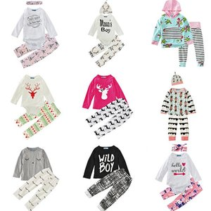 Wholesale Baby Boys Girls Clothing Sets 29 Design Christmas Snow Winter Autumn Casual Suits Shirts Pants Hat Infant Outfits Kids Tops & Shorts 0-24M