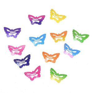 120Pcs set Star Butterfly Shape Hair Snap Clips 2.5 cm Hairpins Colorful Glitter Pentagram Hair Clips Cute Hair styling tools