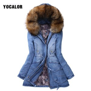 Wholesale YOCALOR Winter Jacket Women Womens Denim Jackets Warming Raccoon Fur Collar Coat Parka Outerwear Hood Thick Overcoat Park