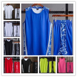 2019 Hot Sale New College Men White Black Blue Red Yellow Pink Blank Basketball Shorts Jersey Suit