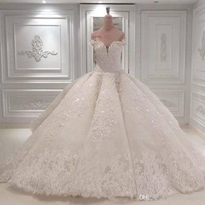 Wholesale Vestido De Noiva Ball Gown Designer Wedding Dresses Off The Shoulder Cathedral Train Lace Appliques Bridal Gown For Church Custom Made
