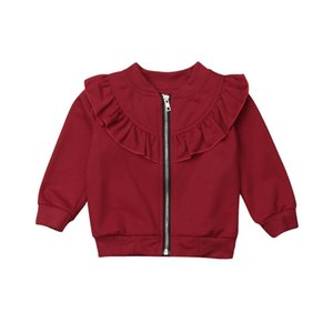 Wholesale 2018 Autumn Zipper Cute Coat Newborn Kids Baby Girls Cotton Long Sleeve Hooded Tops Pink Red Grey Solid Outerwear Coat Clothes