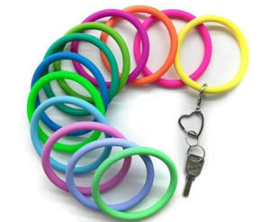 Wholesale promotion products resale online - New Trend Silicone Bangle Key Ring Wrist Sports Keychain Bracelet Round Key Rings Colorful Keyring Hot Products