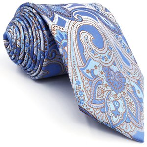 A9 Light Blue Floral Silk Jacquard Woven Classic Fashion Men's Accessories Ties Necktie extra long size
