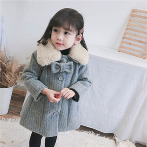 Wholesale Baby Girls Winter Clothing Korean Kids Girl Wool Collar Overcoat Children Cotton Lining Thicken Long Coat New Year Costume Y
