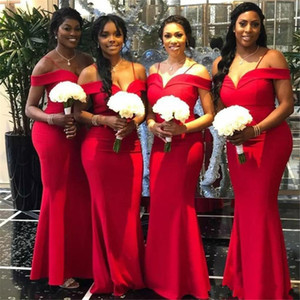 2020 CHeap African Red Mermaid Bridesmaid Dresses Off The Shoulder Floor Length Long Wedding Gowns Party Dress Robe de soiree