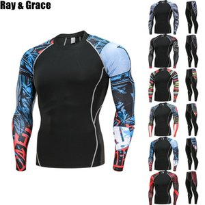 Wholesale Ray Grace 2pcs   Sets Men Compression Running Jogging Tights Suits Clothes Sport Long T-shirt Pants Gym Fitness Workout Clothes Q190521