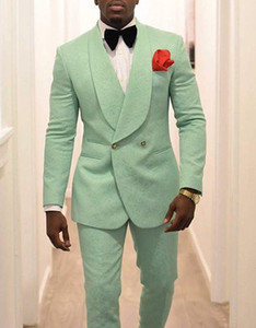 Wholesale Men s Party Wear Mint Green Wedding Tuxedos Prom Outfit Two Piece Groom Tuxedos Trim Fit Men Party Suit Custom Made Groomsmen Suits