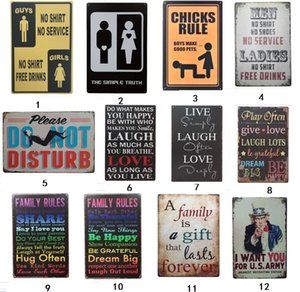 Wholesale Family love Rules Vintage stamp dog cat painting Craft Tin Sign Retro Metal Painting Antique Iron Poster Bar Pub Signs Wall Art Sticker